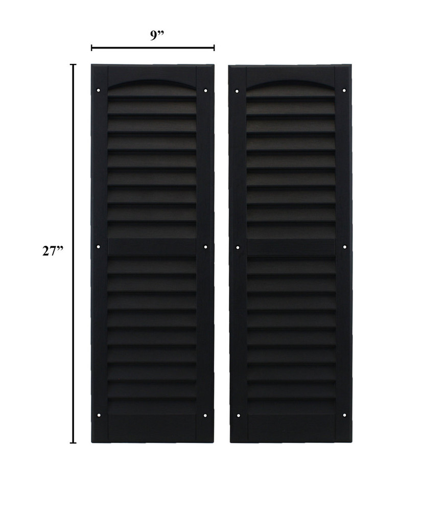 """9""""x27"""" Louvered Shutters - Black"""