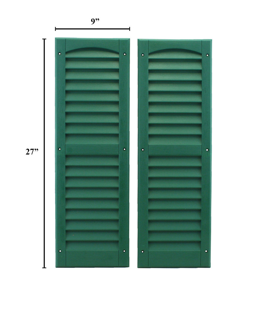 """9""""x27"""" Louvered Shutters - Forest Green"""