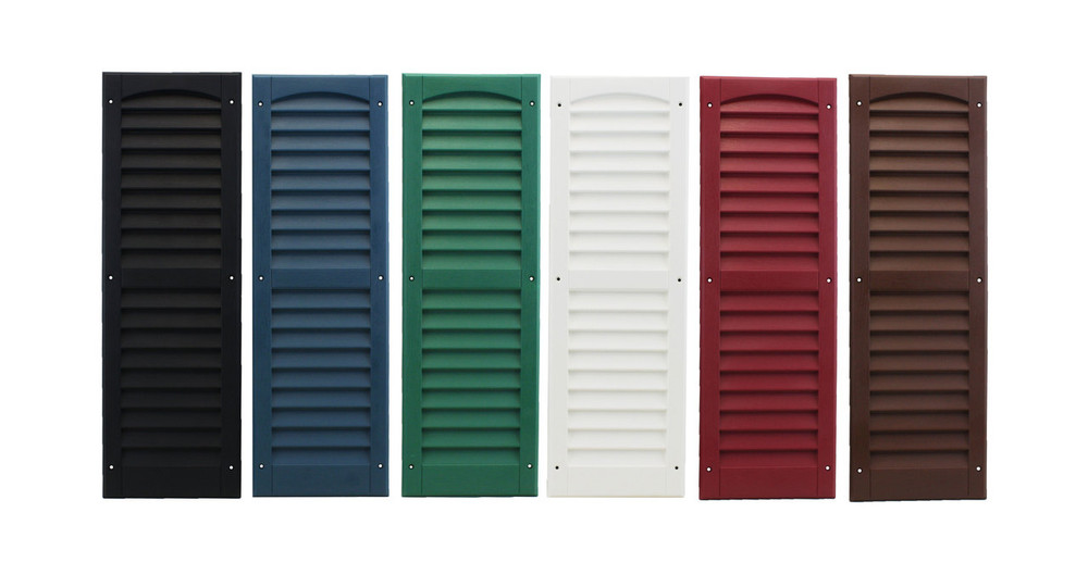 """9""""x27"""" Louvered Shutters Colors: Black, Bedford Blue, Forrest Green, White, Maroon, and Dark Brown"""