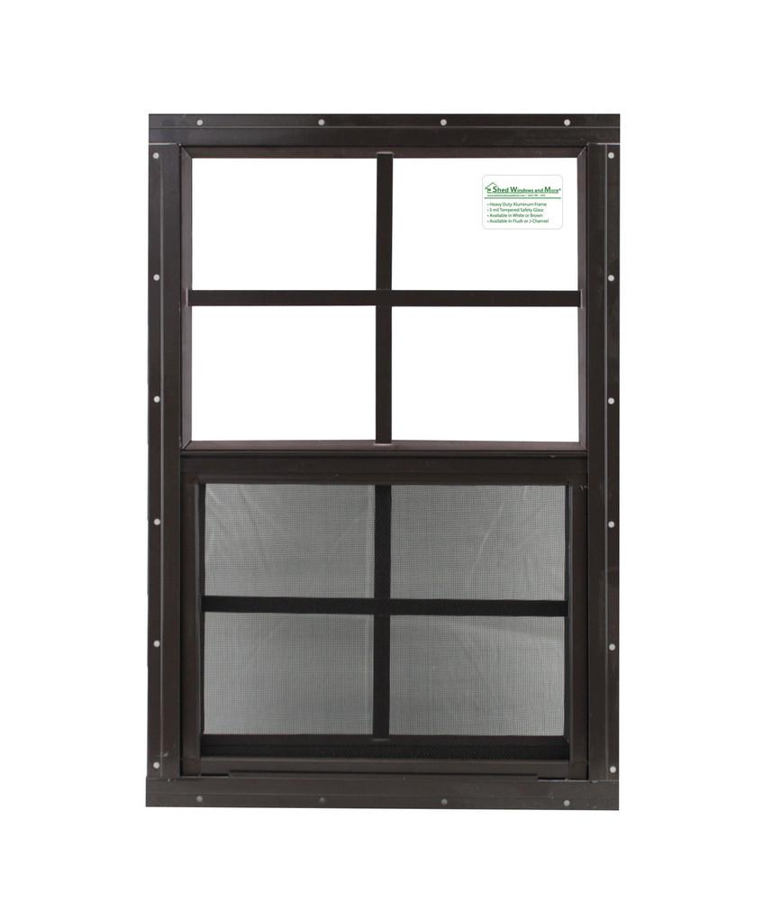 """12"""" x 18"""" Brown Flush Chicken Coop Window"""