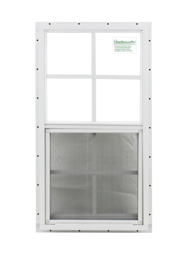 """14"""" x 27"""" White J-Channel Windows Play House, Tree House and Shed Window"""