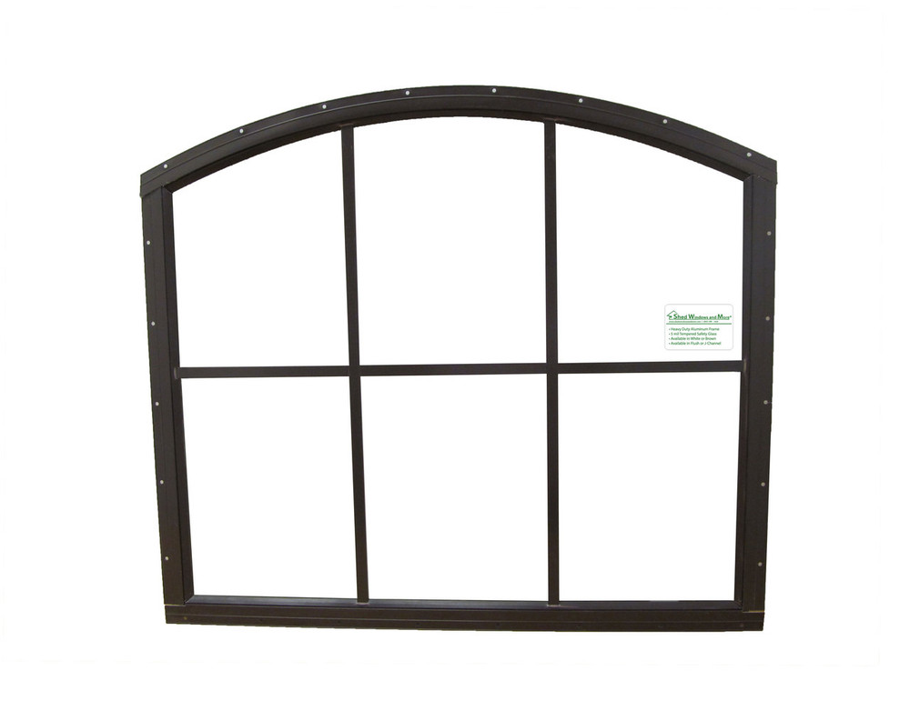 28 x 25 Brown Flush Arched Window
