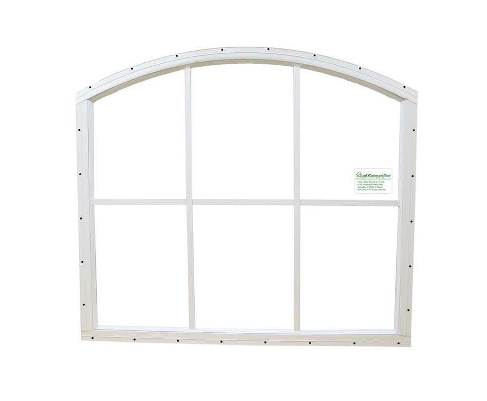 28 x 25 White Flush Arched Window