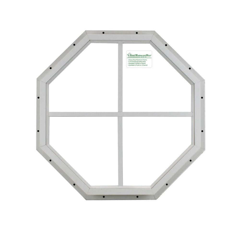 "14"" White Flush Octagon Window"