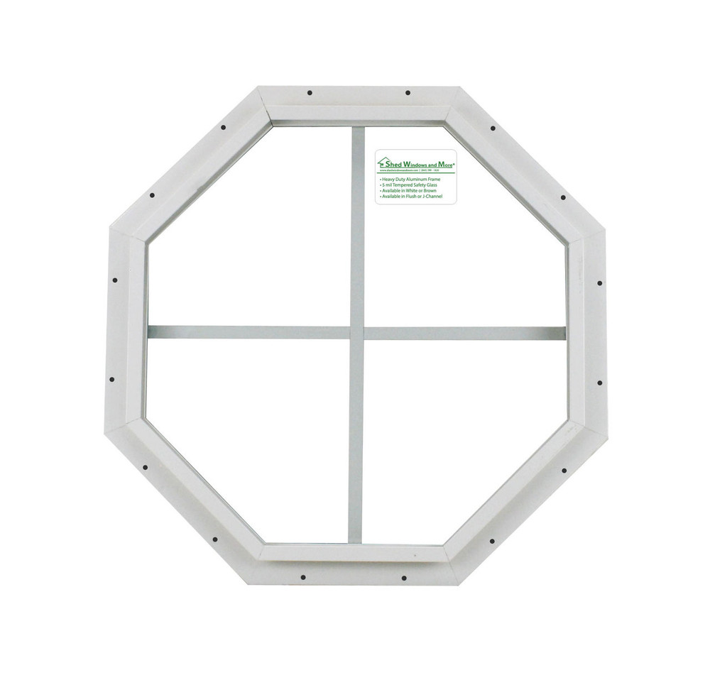 "14"" White J-Channel Octagon Window"