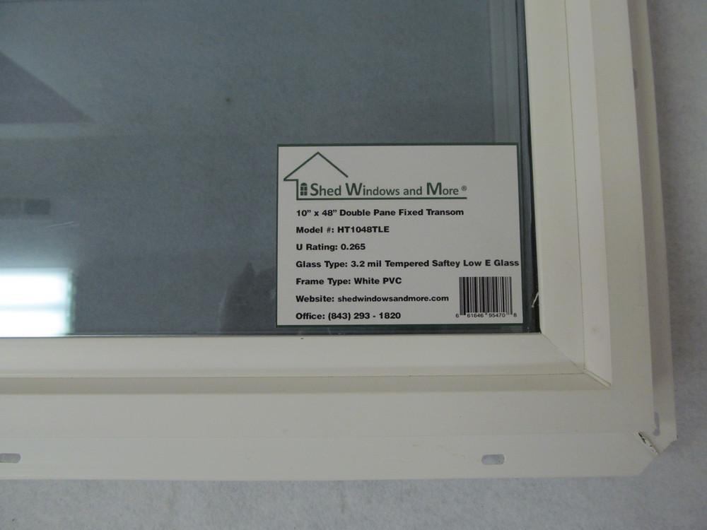"10"" x 48"" Transom Double Pane Vinyl Windows"