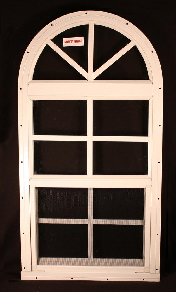 "14"" x 28"" One Piece Arched Window White Flush"