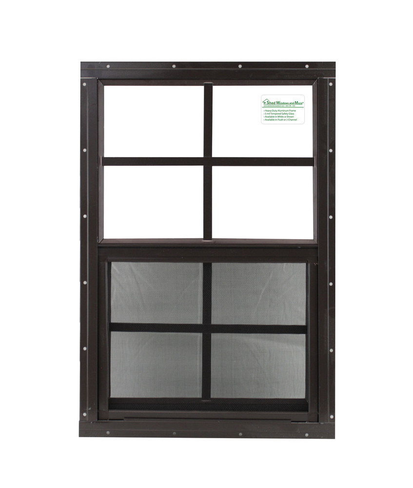 """16"""" x 24"""" Brown Flush Windows Play House, Tree House and Shed Window"""