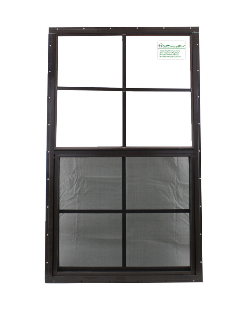 """21"""" x 36"""" Brown Flush Playhouse Window with Safety Glass"""