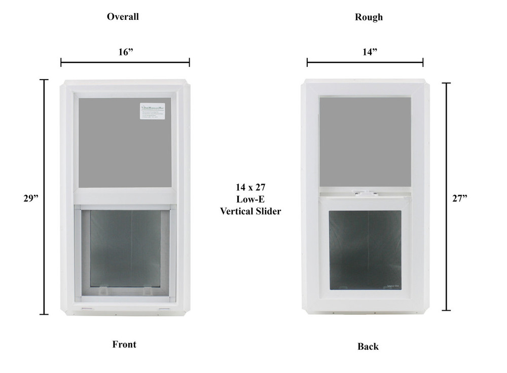 """14"""" x 27"""" Double Pane Safety/Tempered Glass Low-E PVC Frame"""