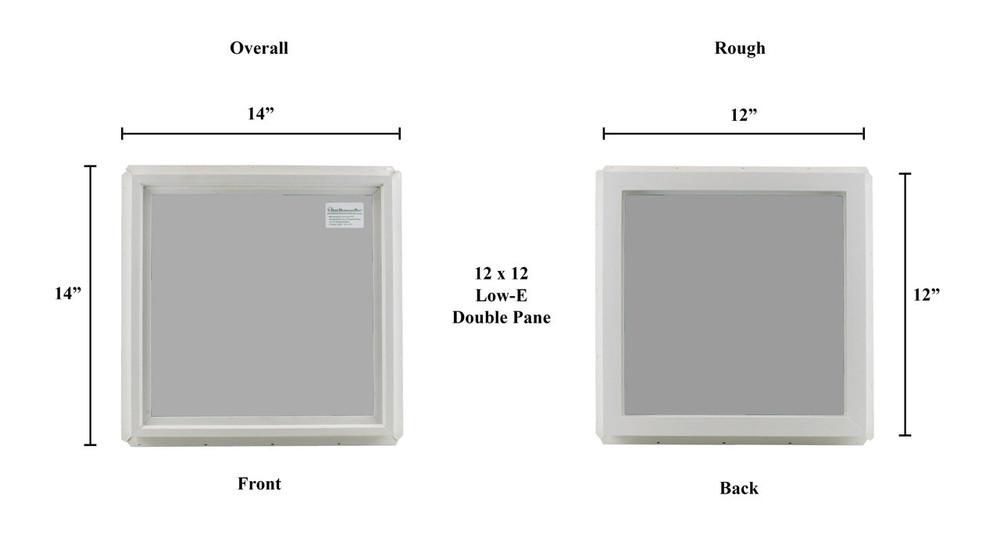 "12"" x 12"" Transom Double Pane Vinyl Windows Tempered Glass"