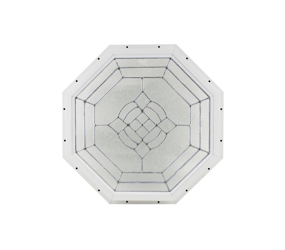 "18"" White J-Channel Cut Glass Octagon"