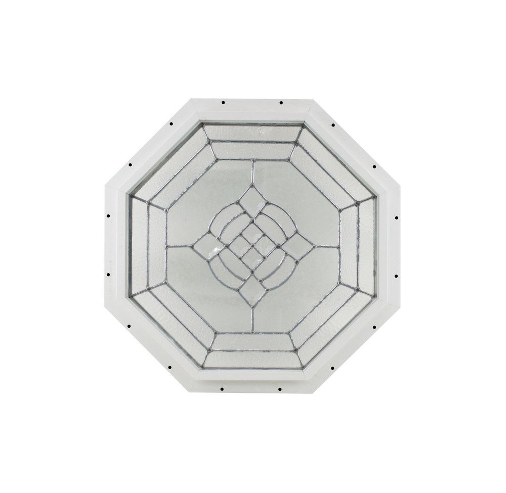 "18"" White J-Channel Cut Glass Octagon"