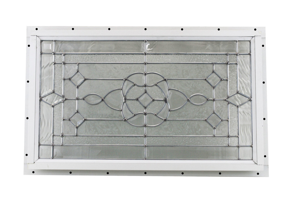 "24"" x 14"" Decorative Cut Glass J-Channel Mount Shed Window"