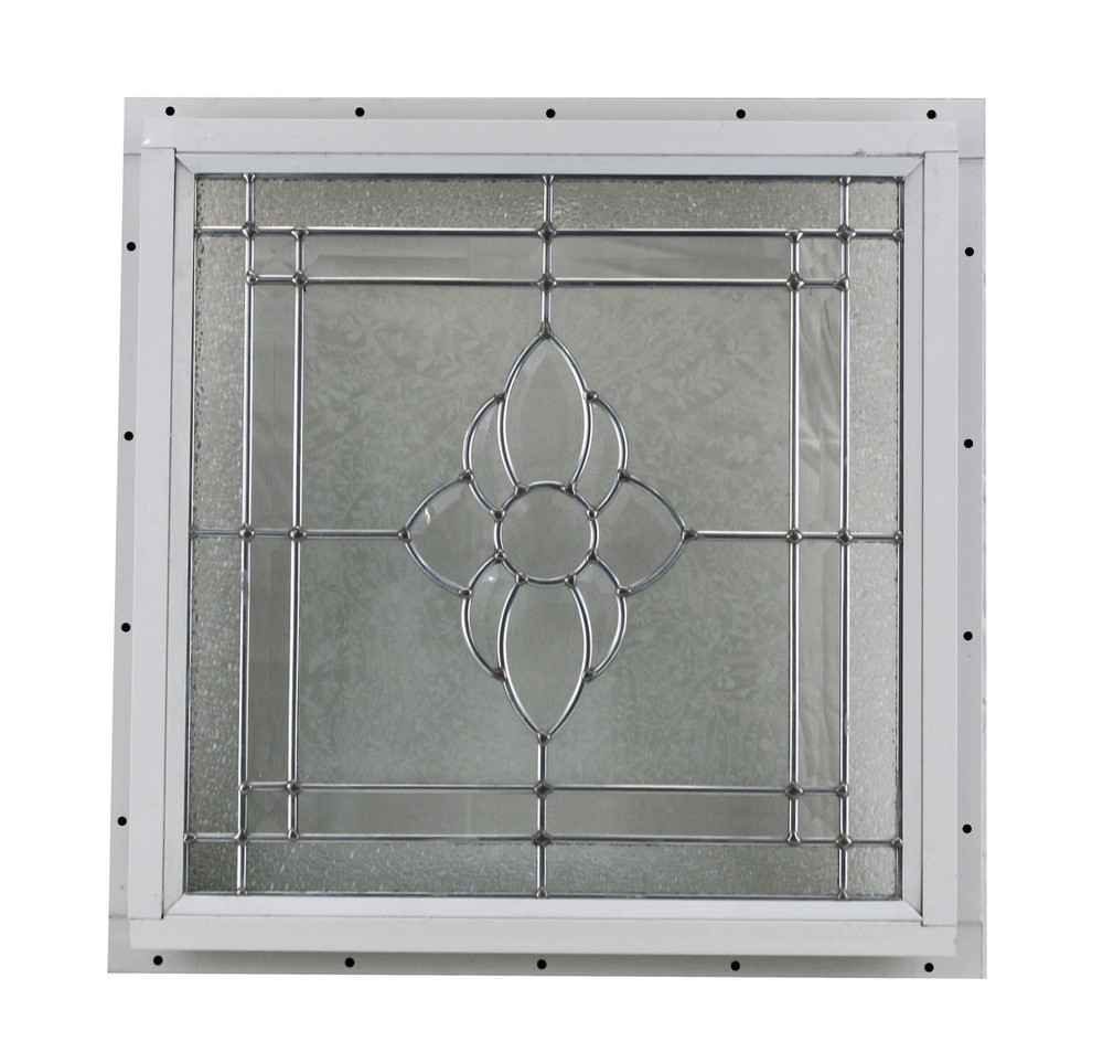 "16"" x 16"" Decorative Cut Glass J-Channel Mount Window"