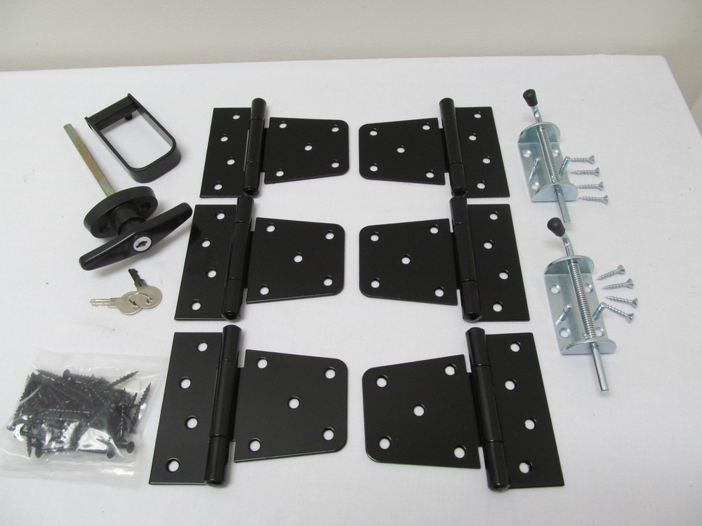 "Hardware Kit w/Heavy Duty Hinges 3-1/2"" Barn hinges with heavy duty barrel bolts"