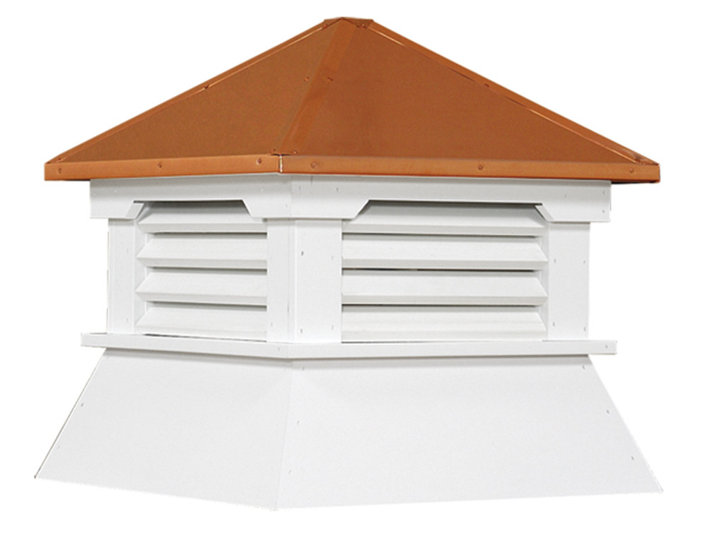 """30"""" Vinyl Vented Cupola with Hip Roof with Copper Cap"""