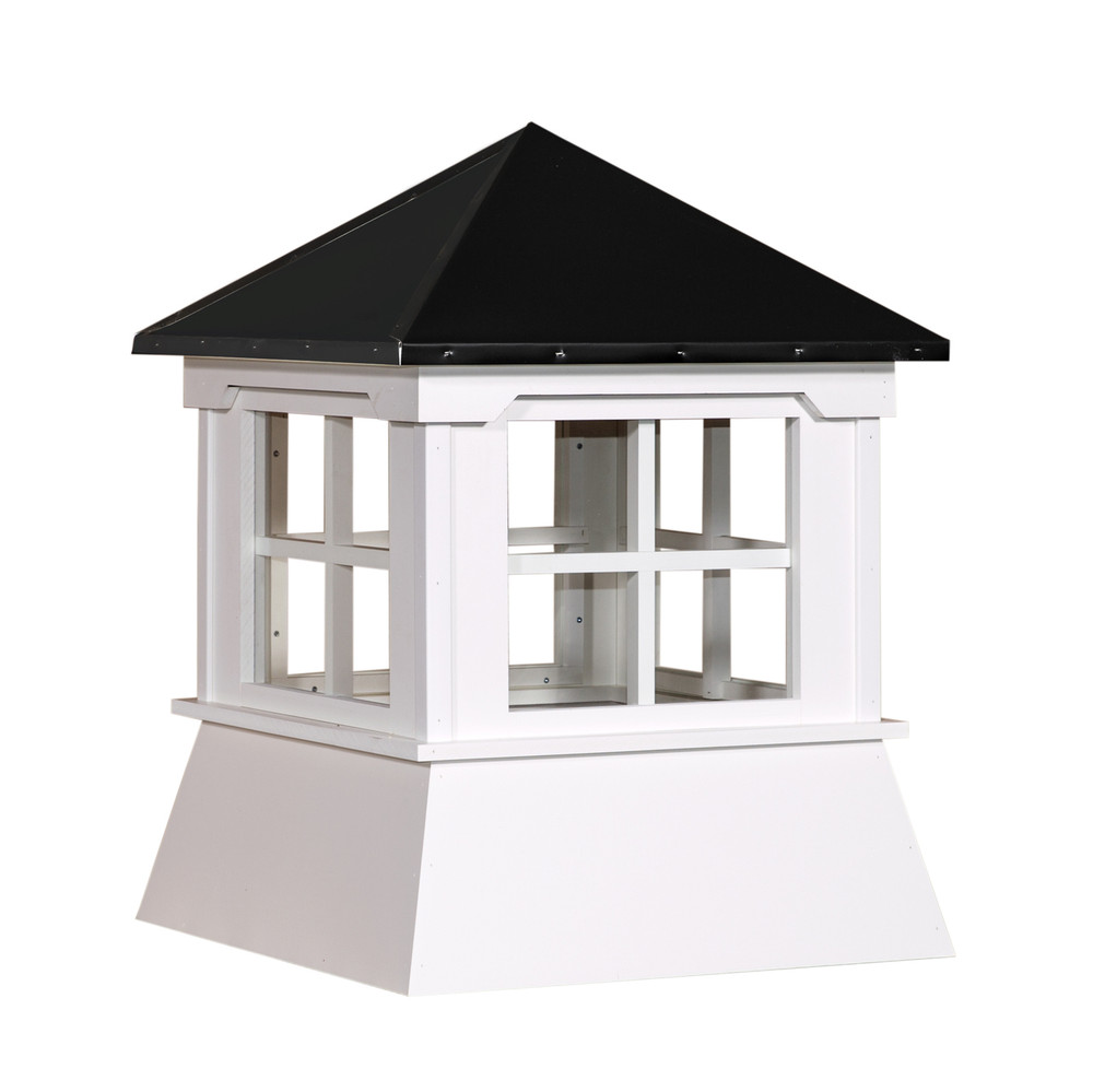 "25"" Vinyl Window Cupola with Hip Roof with Black Metal Cap"