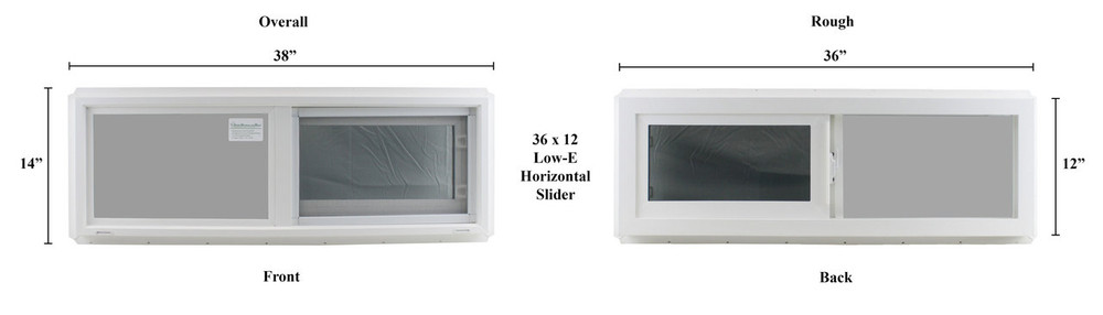 "Double Pane TEMPERED Glass Horizontal 36"" x 12"""