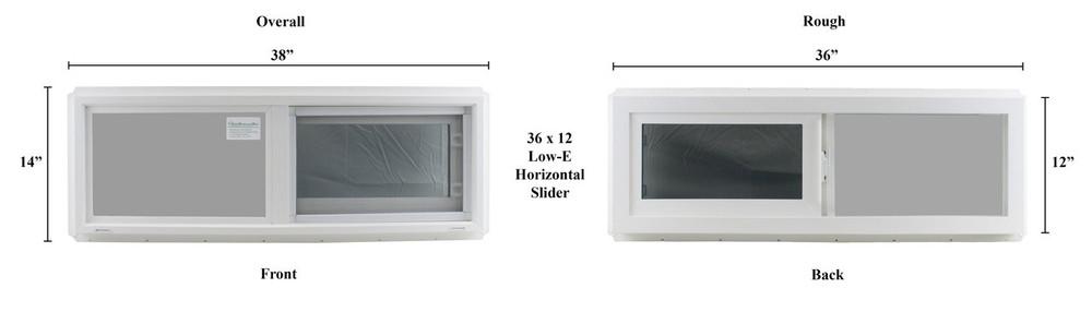 "Double Pane TEMPERED Glass Horizontal 36"" x 12"""