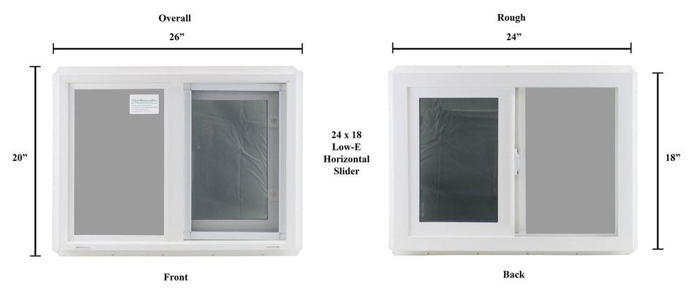 "Double Pane TEMPERED Glass Horizontal 24"" x 18"""