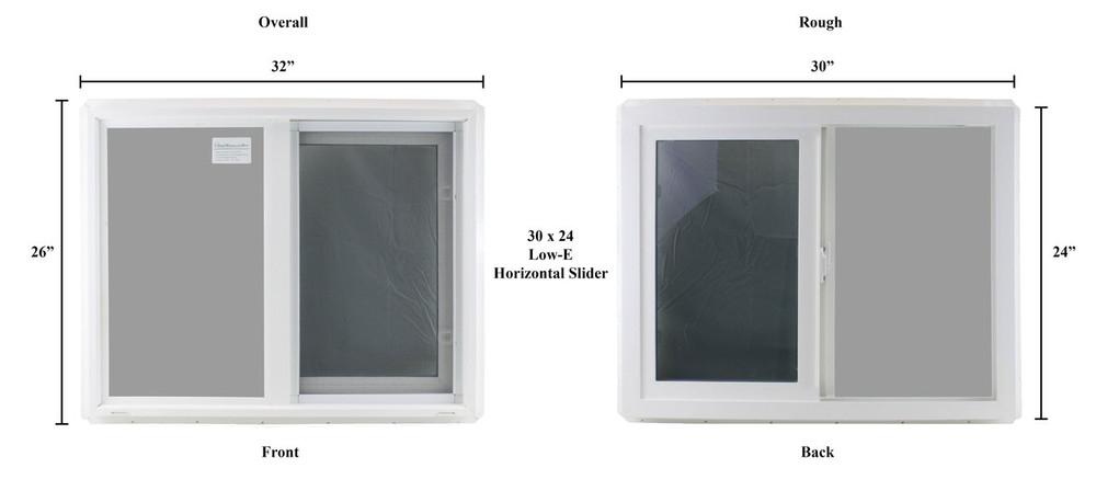 "Double Pane TEMPERED Glass Horizontal 30"" x 24"""