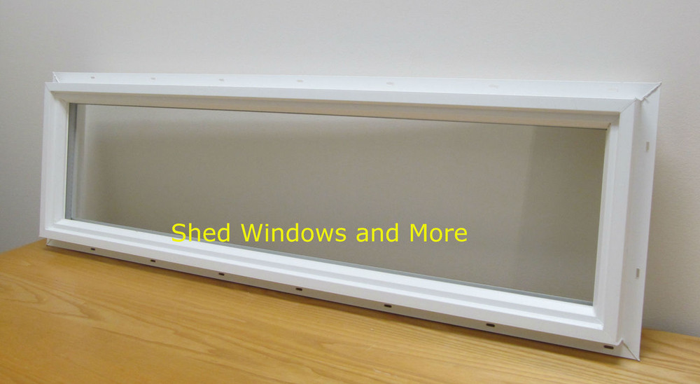 "Transom 12"" x 36"" Double Pane Window PVC Frame"
