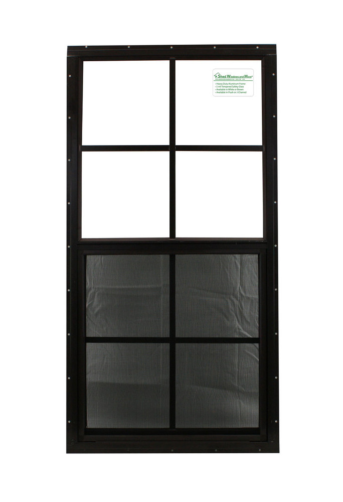 "18"" x 36"" Brown Flush Windows Play House, Tree House and Shed Window"