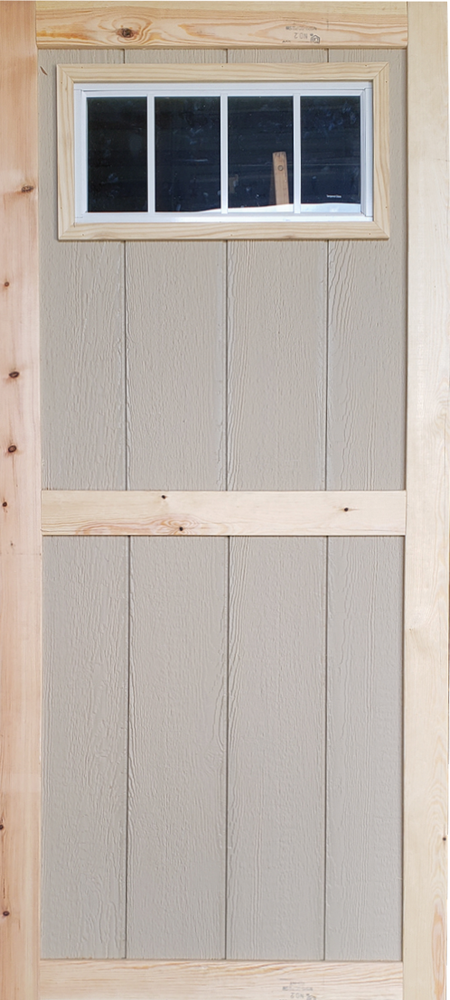 """30"""" x 78"""" Wood Shed Door with transom Window"""
