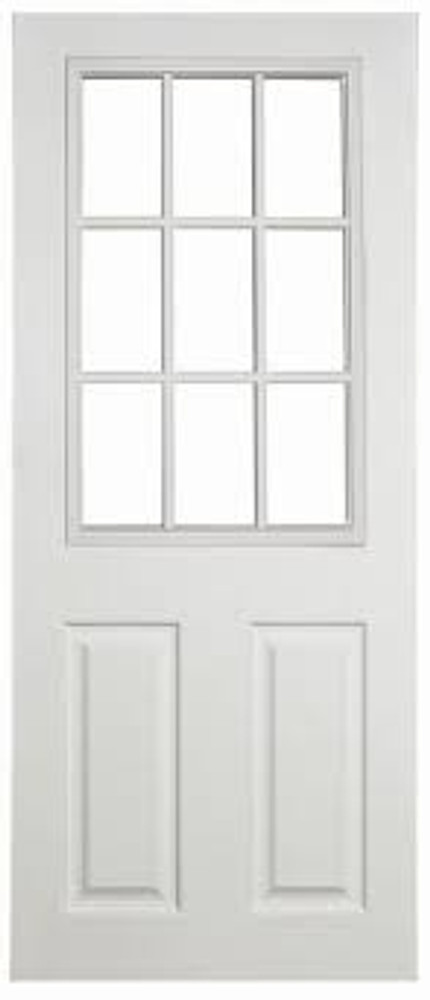 30 x 72 Firberglass Door with 9-Lite Window Insert single Door