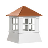 "21"" Vinyl Window Cupola with Hip Roof with Copper Cap"