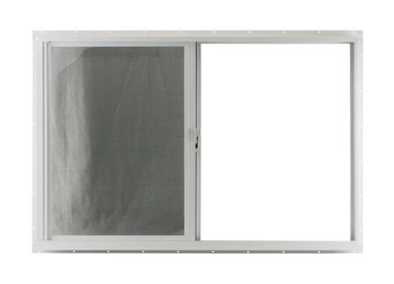 "36"" x 24"" White Flush Horizontal Slider with No Grid (Back)"