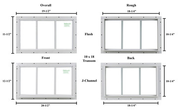 "10"" x 18"" Transom Window"