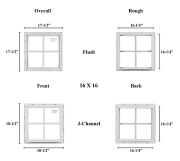 "16"" x 16"" Square Window - Safety Glass"