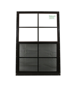 """24"""" x 36"""" Brown J-Channel Shed Window with Safety Glass"""