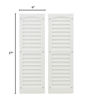 """9""""x27"""" Louvered Shutters - White"""