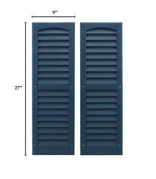 """9""""x27"""" Louvered Shutters - Bedford Blue"""