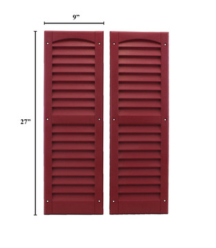 """9""""x27"""" Louvered Shutters - Maroon"""