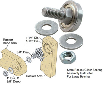 "Rocker Bearing 1-1/8"" OD with Hardware set of 4 Free Shipping"