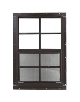 "14"" x 21"" Brown J-Channel Window Play House, Tree House and Shed Window"