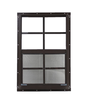 "18"" x 27"" Brown Flush Windows Play House, Tree House and Shed Window"