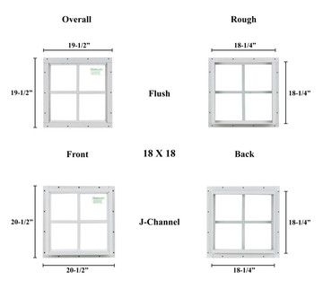 "18"" x 18"" Square Window - Safety Glass"
