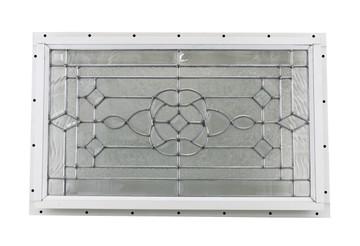 "24"" x 14"" Decorative Cut Glass J-Channel Mount Shed Window"