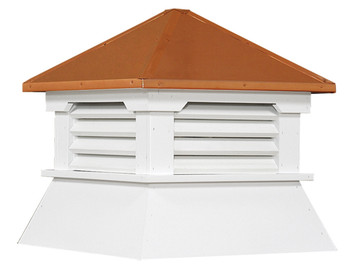 "25"" Vinyl Vented Cupola with Hip Roof with Copper Cap"
