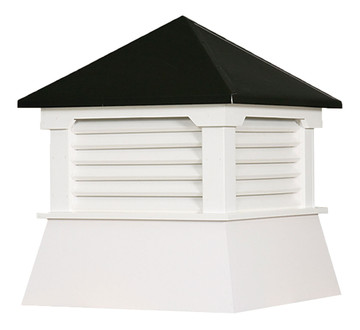 "30"" Vinyl Vented Cupola with Hip Roof with Black Metal Cap"