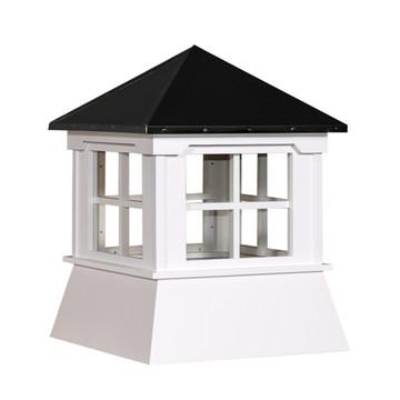 "21"" Vinyl Window Cupola with Hip Roof with Black Metal Cap"