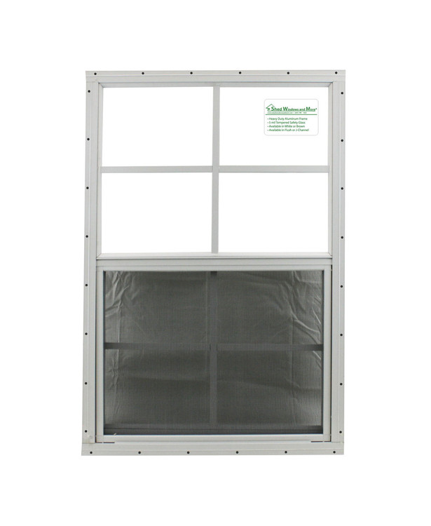 "24"" x 36"" White Flush Shed Window with Safety Glass"