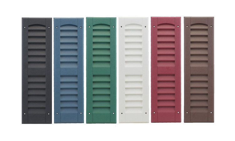 "9""x21"" Louvered Shutters Colors: Black, Bedford Blue, Forrest Green, White, Maroon, and Dark Brown"