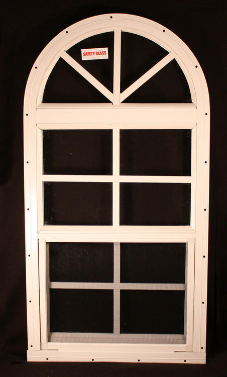 "14"" x 28"" One Piece Arched Window White Flush"