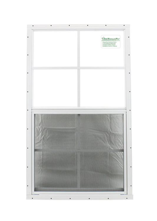 "21"" x 36"" White Flush Playhouse Window with Safety Glass"